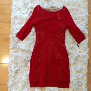 NWT Calvin Klein red cutout sweater dress
